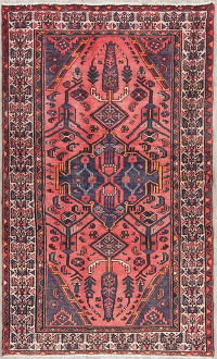 Tribal Geometric Hamedan Persian Hand-Knotted 4x6 Wool Area Rug