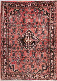 Geometric Red Hamedan Persian Hand-Knotted 4x5 Wool Area Rug