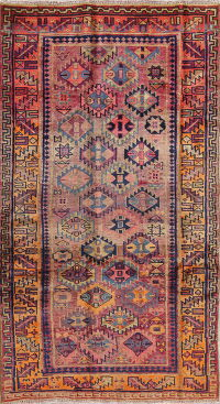 Tribal Geometric  Kashkoli Persian Hand-Knotted 4x7 Wool Area Rug
