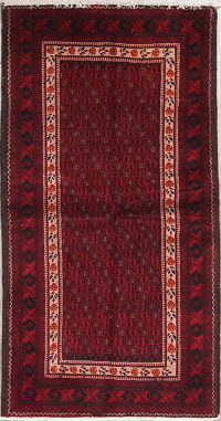 Geometric Red Balouch Persian Hand-Knotted 3x6 Wool Runner Rug