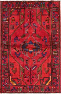 Geometric Red Nahavand Persian Hand-Knotted 4x7 Wool Area Rug