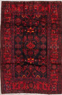 Tribal Geometric Nahavand Persian Hand-Knotted 5x7 Wool Area Rug