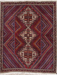 Geometric Sirjan Persian Hand-Knotted 5x6 Wool Area Rug