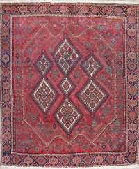 Geometric Red Sirjan Persian Hand-Knotted 6x6 Wool Square Rug