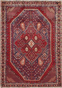 Geometric Sirjan Persian Hand-Knotted 5x7 Wool Area Rug