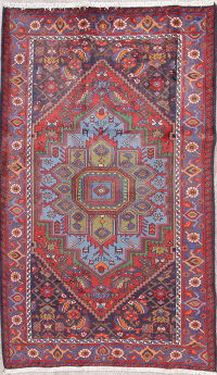 Geometric Zanjan Persian Hand-Knotted 5x8 Wool Area Rug