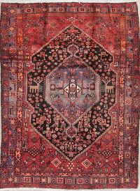 Tribal Red and Black Hamedan Persian Hand-Knotted 5x7 Wool Area Rug