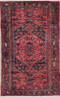 Geometric Hamedan Persian Hand-Knotted 4x7 Wool Area Rug