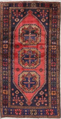 Geometric Red Ardebil Persian Hand-Knotted 4x8 Wool Runner Rug