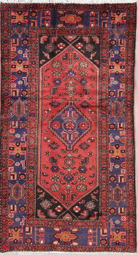 Tribal Geometric Hamedan Persian Hand-Knotted 4x8 Wool Runner Rug