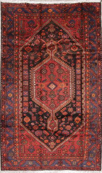 Tribal Geometric Hamedan Persian Hand-Knotted 5x7 Wool Area Rug