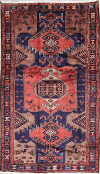 Tribal Red Hamedan Persian Hand-Knotted 5x7 Wool Area Rug
