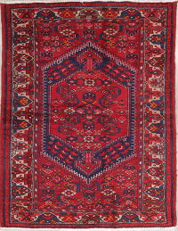 Geometric Red Hamedan Persian Hand-Knotted 4x7 Wool Area Rug