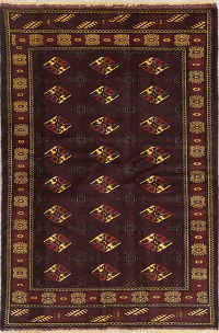 Geometric Maroon Balouch Persian Hand-Knotted 4x6 Wool Area Rug