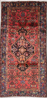 Geometric Red Bidjar Persian Hand-Knotted 4x8 Wool Runner Rug