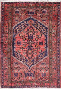 Geometric Red Hamedan Persian Hand-Knotted 5x7 Wool Area Rug