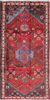 Geometric Red Hamedan Persian Hand-Knotted 4x8 Wool Runner Rug