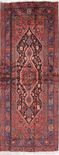 Geometric Hamedan Persian Hand-Knotted 5x7 Wool Area Rug