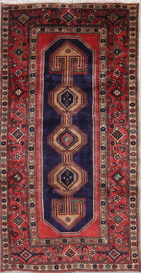 Tribal Geometric Zanjan Persian Hand-Knotted 4x8 Wool Runner Rug