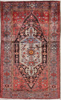Tribal Geometric Hamedan Persian Hand-Knotted 4x7 Wool Area Rug