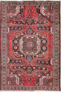 Geometric Bakhtiari Persian Hand-Knotted 4x6 Wool Area Rug
