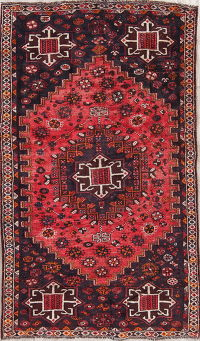 Geometric Shiraz Persian Hand-Knotted 5x8 Wool Area Rug