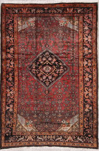 Geometric Red Malayer Persian Hand-Knotted 5x7 Wool Area Rug