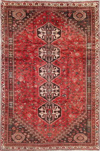 Antique Tribal Qashqai Persian Hand-Knotted 5x8 Wool Area Rug