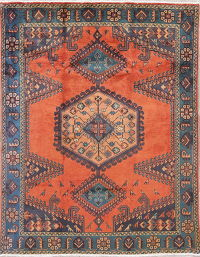 Tribal Geometric Viss Persian Hand-Knotted 5x7 Wool Area Rug