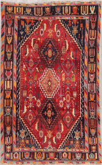Antique Red Kashkoli Persian Hand-Knotted 5x8 Wool Area Rug
