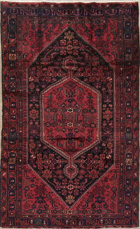 Tribal Geometric Hamedan Persian Hand-Knotted 6x9 Pink Area Rug