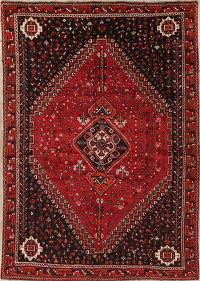 Tribal Geometric Shiraz Persian Hand-Knotted 7x10 Wool Area Rug