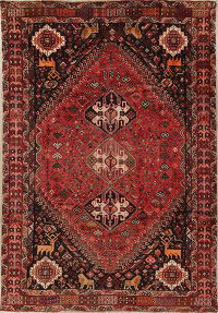 Antique Tribal Qashqai Persian Hand-Knotted 7x10 Wool Area Rug