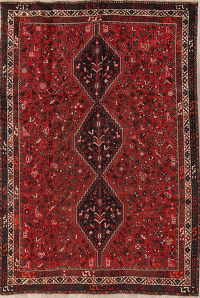 Antique Tribal Shiraz Persian Hand-Knotted 7x10 Wool Area Rug