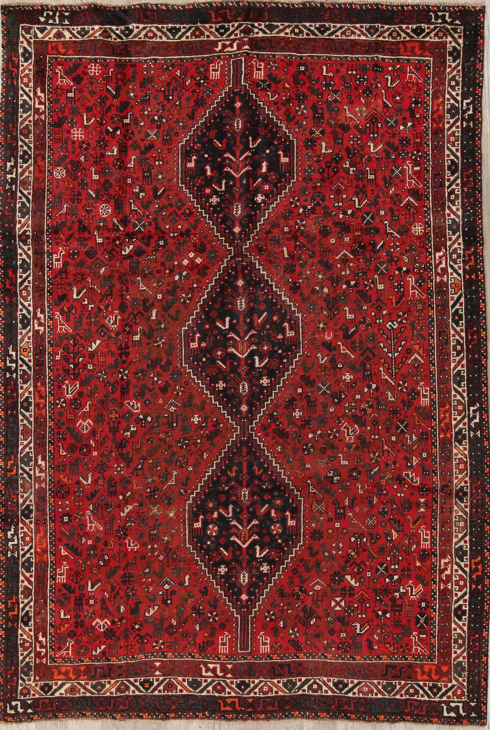 Antique Tribal Shiraz Persian Hand-Knotted 7x10 Wool Area Rug image 1