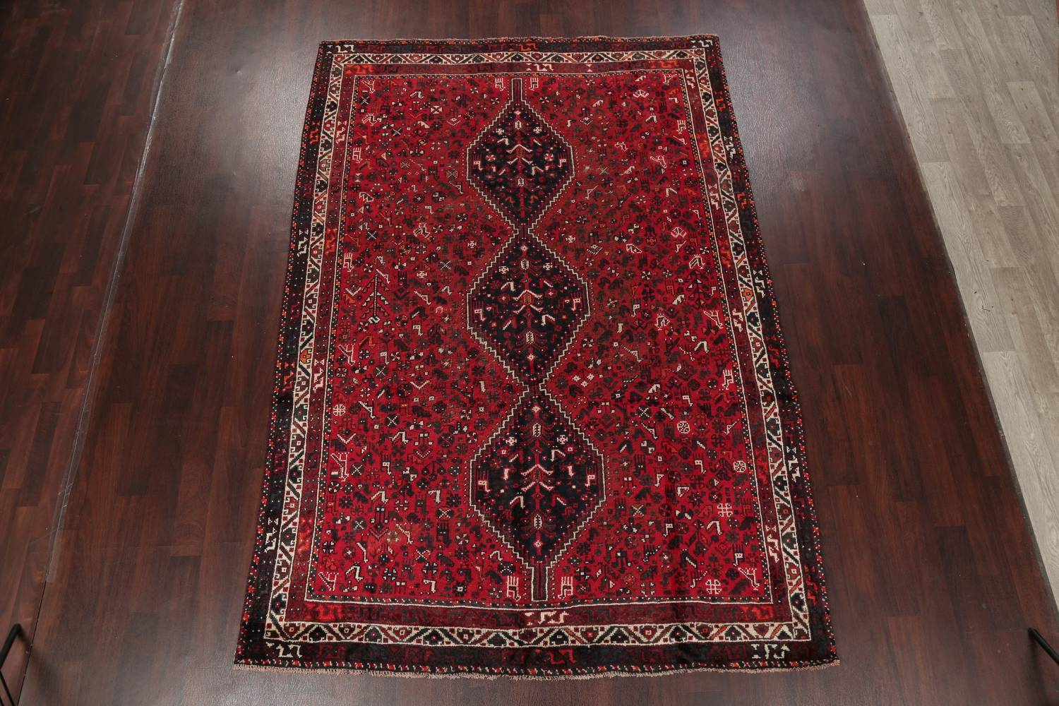 Antique Tribal Shiraz Persian Hand-Knotted 7x10 Wool Area Rug image 2