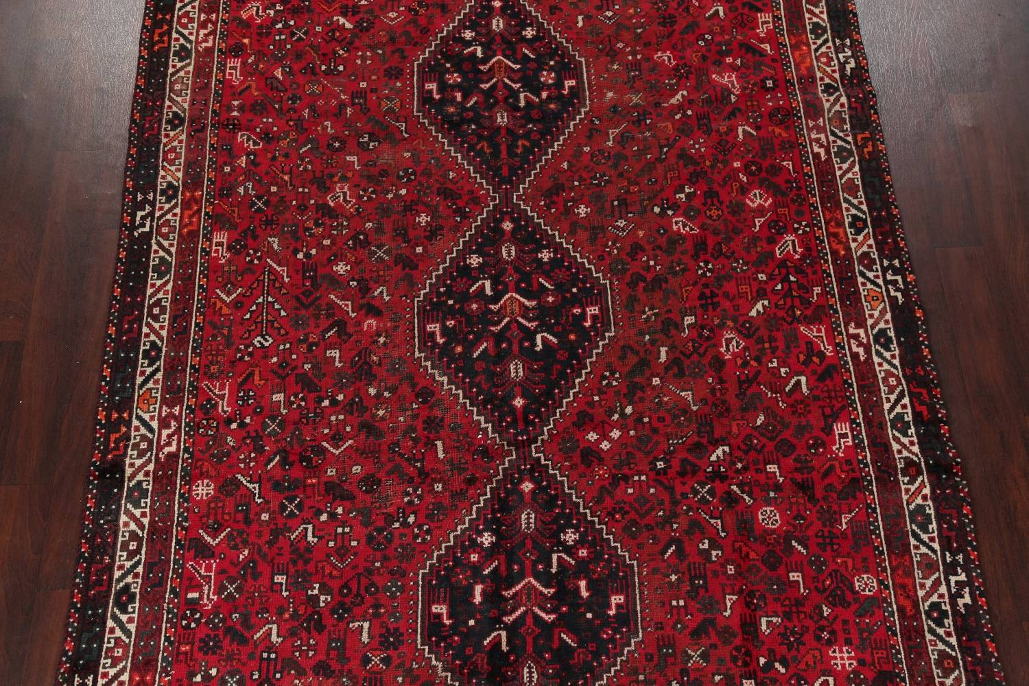Antique Tribal Shiraz Persian Hand-Knotted 7x10 Wool Area Rug image 3