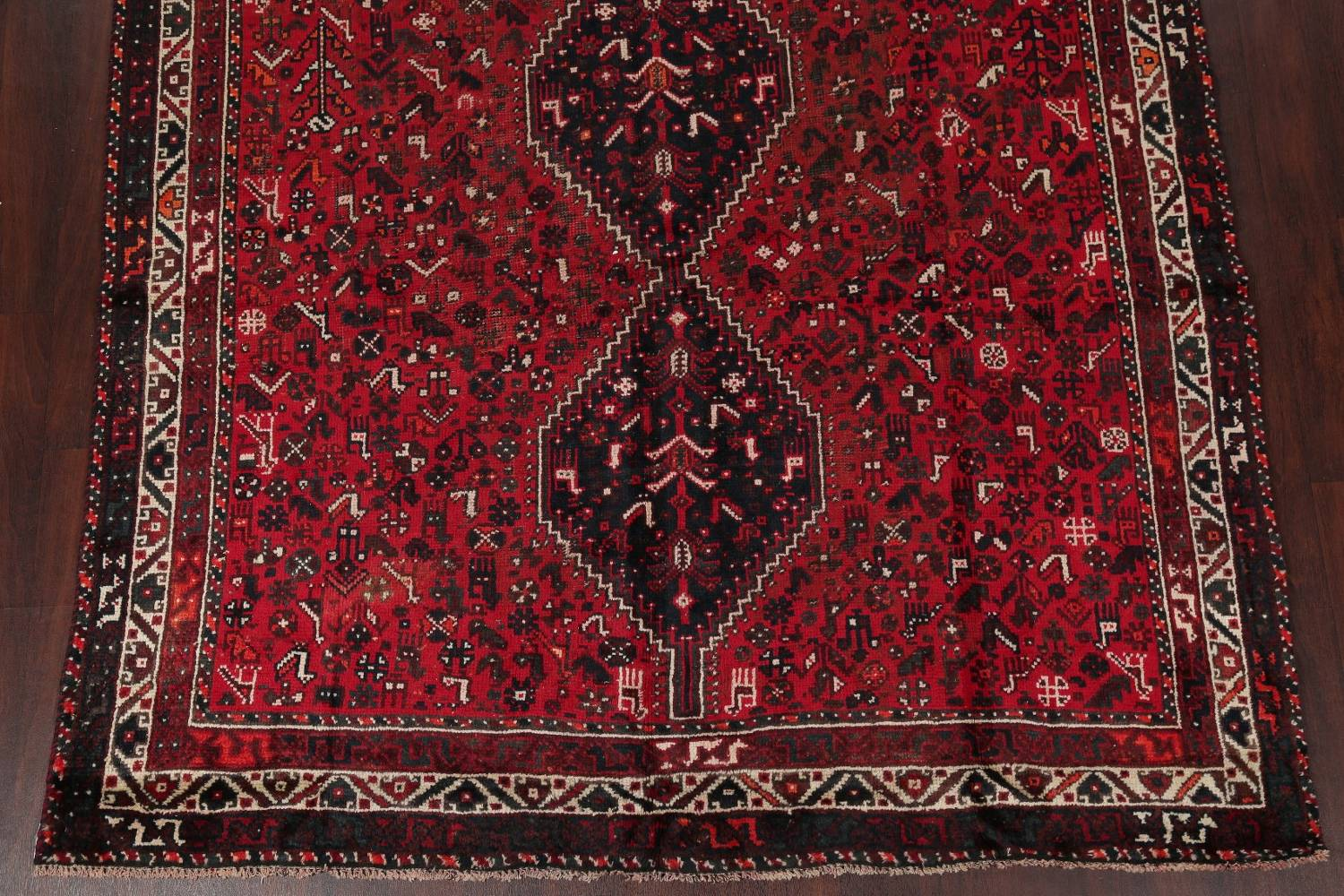 Antique Tribal Shiraz Persian Hand-Knotted 7x10 Wool Area Rug image 5