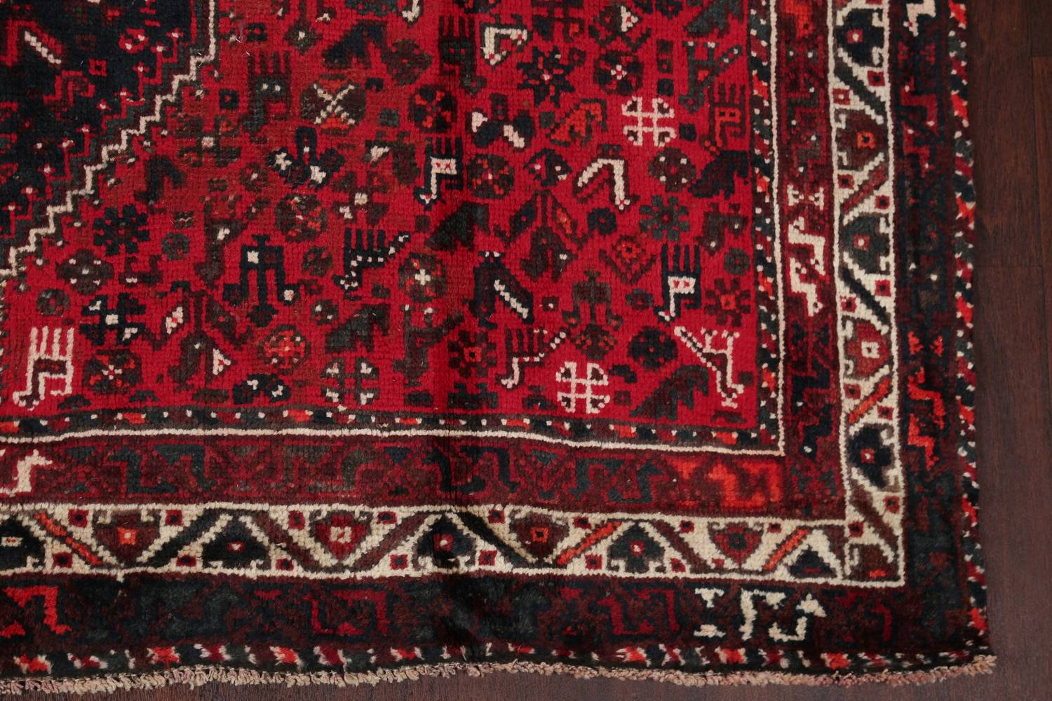 Antique Tribal Shiraz Persian Hand-Knotted 7x10 Wool Area Rug image 6