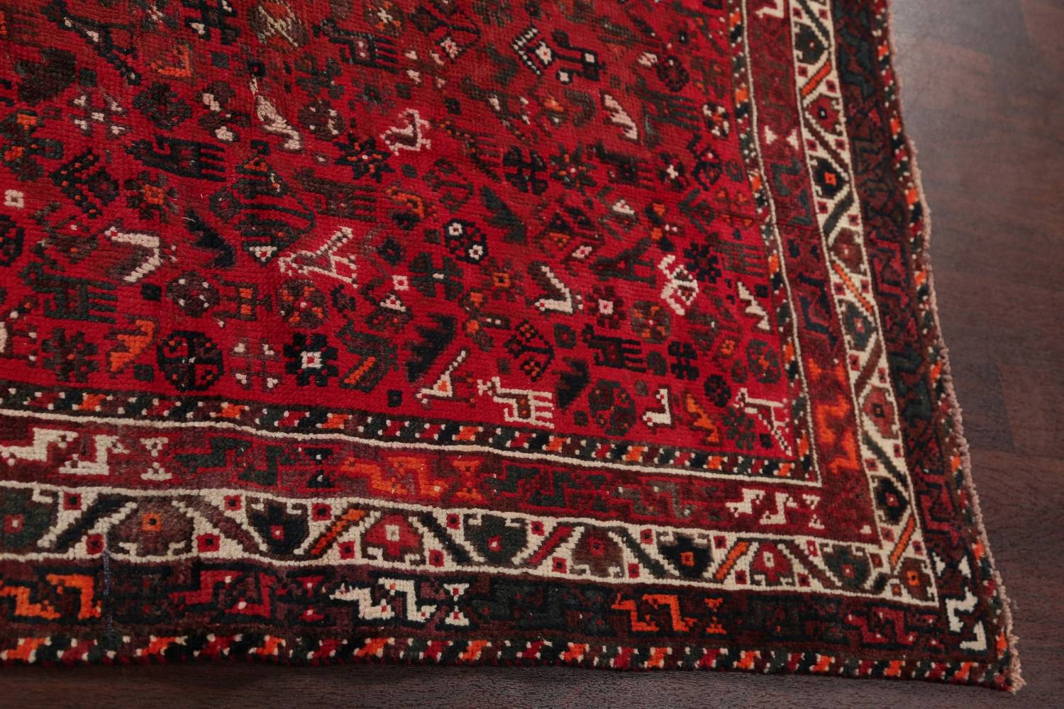 Antique Tribal Shiraz Persian Hand-Knotted 7x10 Wool Area Rug image 13