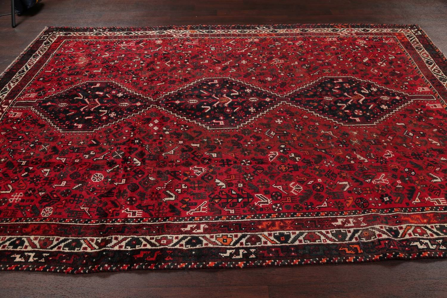 Antique Tribal Shiraz Persian Hand-Knotted 7x10 Wool Area Rug image 14