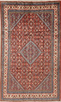Geometric Red Mahal Persian Hand-Knotted 6x10 Wool Area Rug