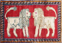 Animal Pictorial Red Gabbeh Persian Hand-Knotted 7x10 Wool Area Rug