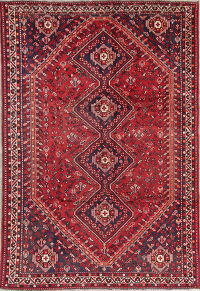 Tribal Antique Qashqai Persian Hand-Knotted 7x10 Wool Area Rug