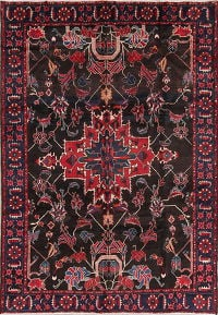 Geometric Black Bakhtiari Persian Hand-Knotted 7x10 Wool Area Rug