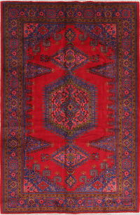 Geometric Red Viss Persian Hand-Knotted 7x10 Wool Area Rug