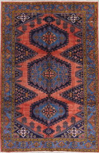 Geometric Coral Red Viss Persian Hand-Knotted 7x11 Wool Area Rug