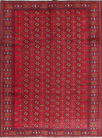 Geometric Red Balouch Persian Hand-Knotted 7x9 Wool Area Rug