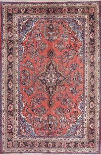 Floral Red Hamedan Persian Hand-Knotted 7x10 Wool Area Rug