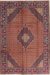 Geometric Rust Red Ardebil Persian Hand-Knotted 7x10 Wool Area Rug